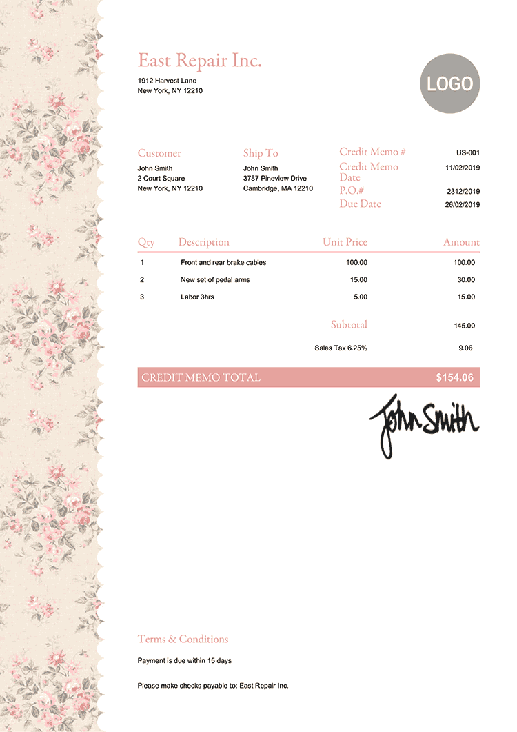 Credit Memo Template Us Flowers