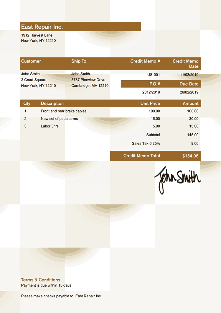 Credit Memo Template Us Geometric Bronze