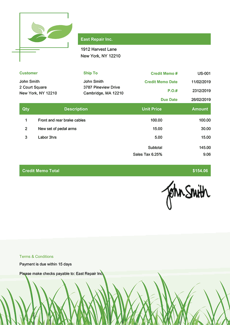 Credit Memo Template Us Green Grass