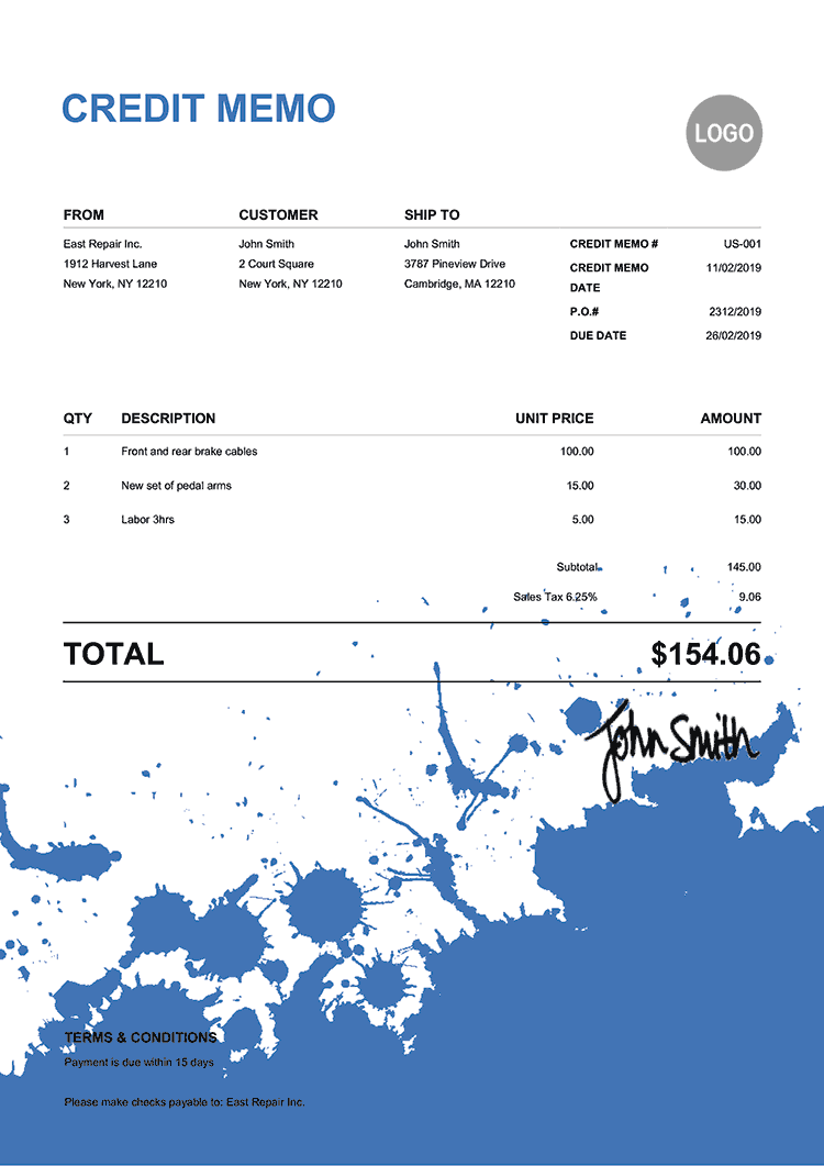 Credit Memo Template Us Ink Blot Blue