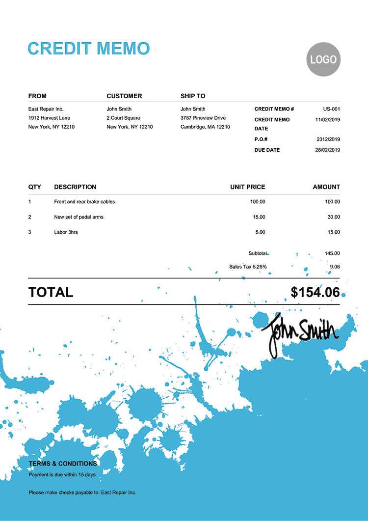Credit Memo Template Us Ink Blot Light Blue