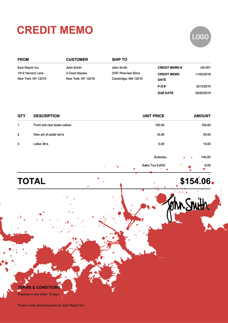 Credit Memo Template Us Ink Blot Red