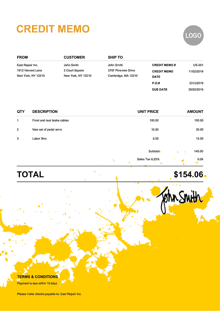 Credit Memo Template Us Ink Blot Yellow