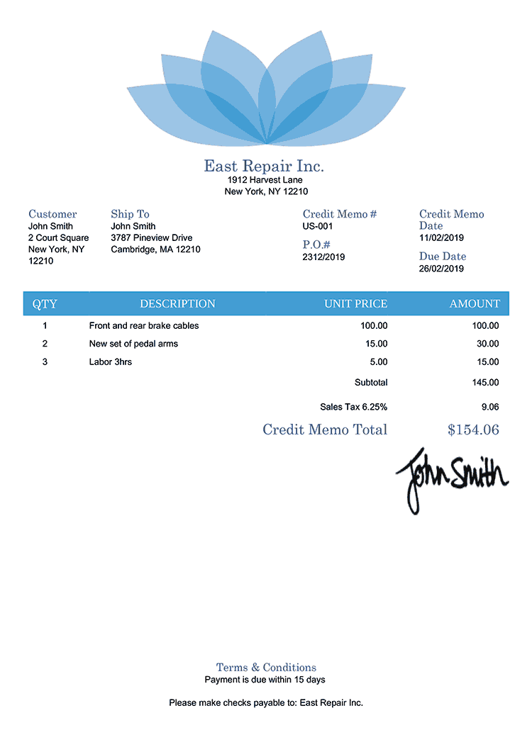 Credit Memo Template Us Lotus Blue