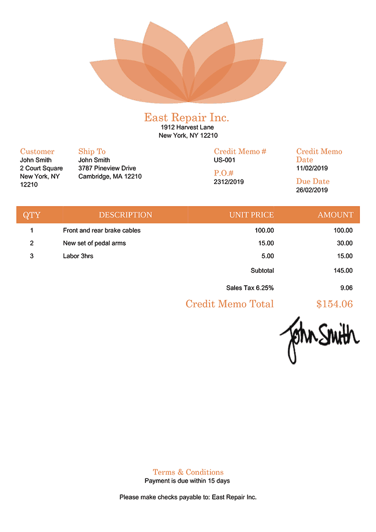 Credit Memo Template Us Lotus Orange