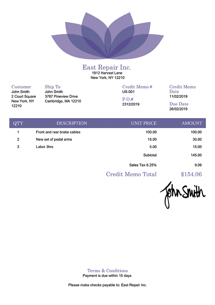 Credit Memo Template Us Lotus Purple