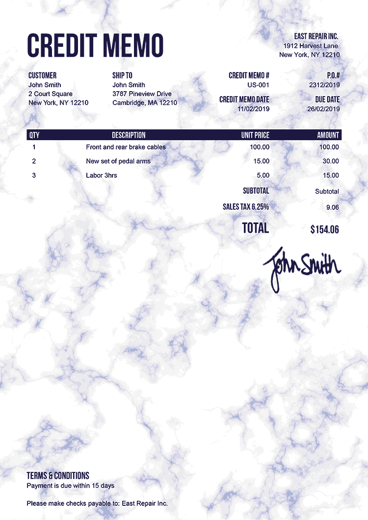 Credit Memo Template Us Marble Blue