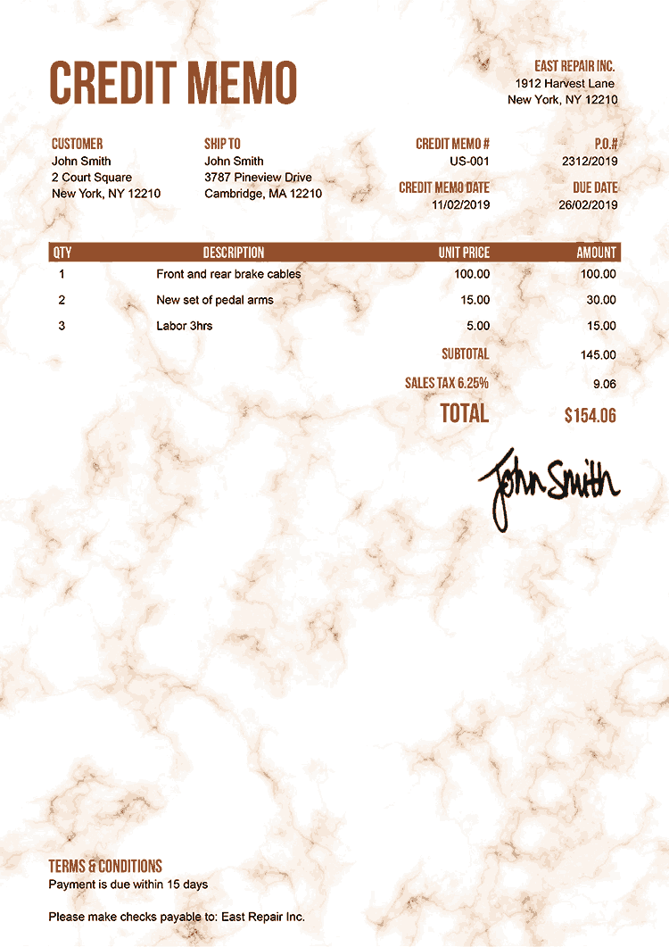 Credit Memo Template Us Marble Orange