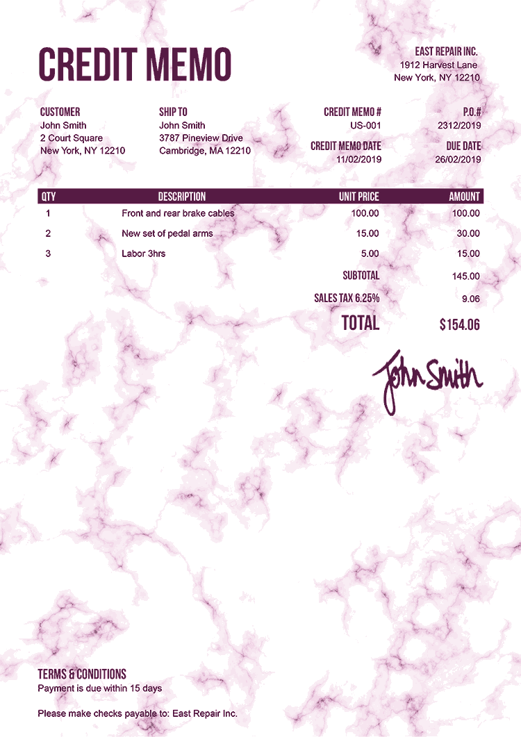 Credit Memo Template Us Marble Pink