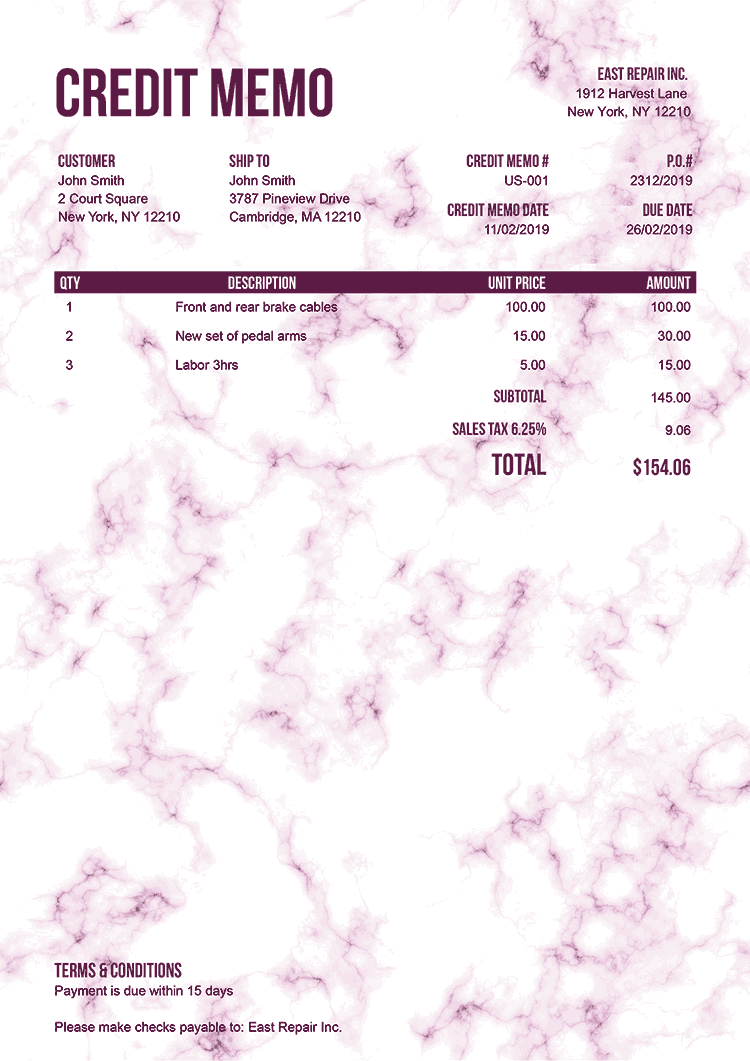 Credit Memo Template Us Marble Pink No Logo