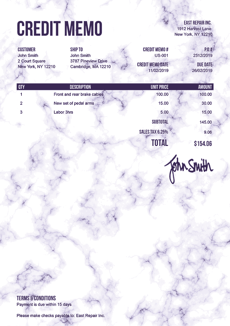 Credit Memo Template Us Marble Purple