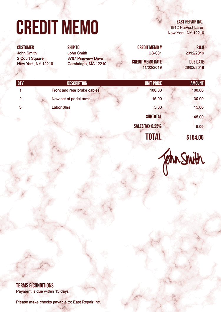 Credit Memo Template Us Marble Red