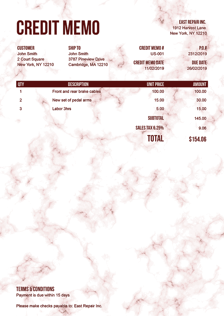 Credit Memo Template Us Marble Red No Logo