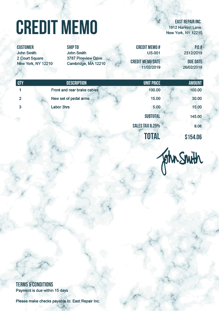 Credit Memo Template Us Marble Teal