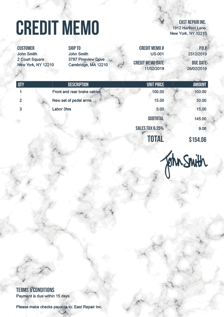 Credit Memo Template Us Marble White