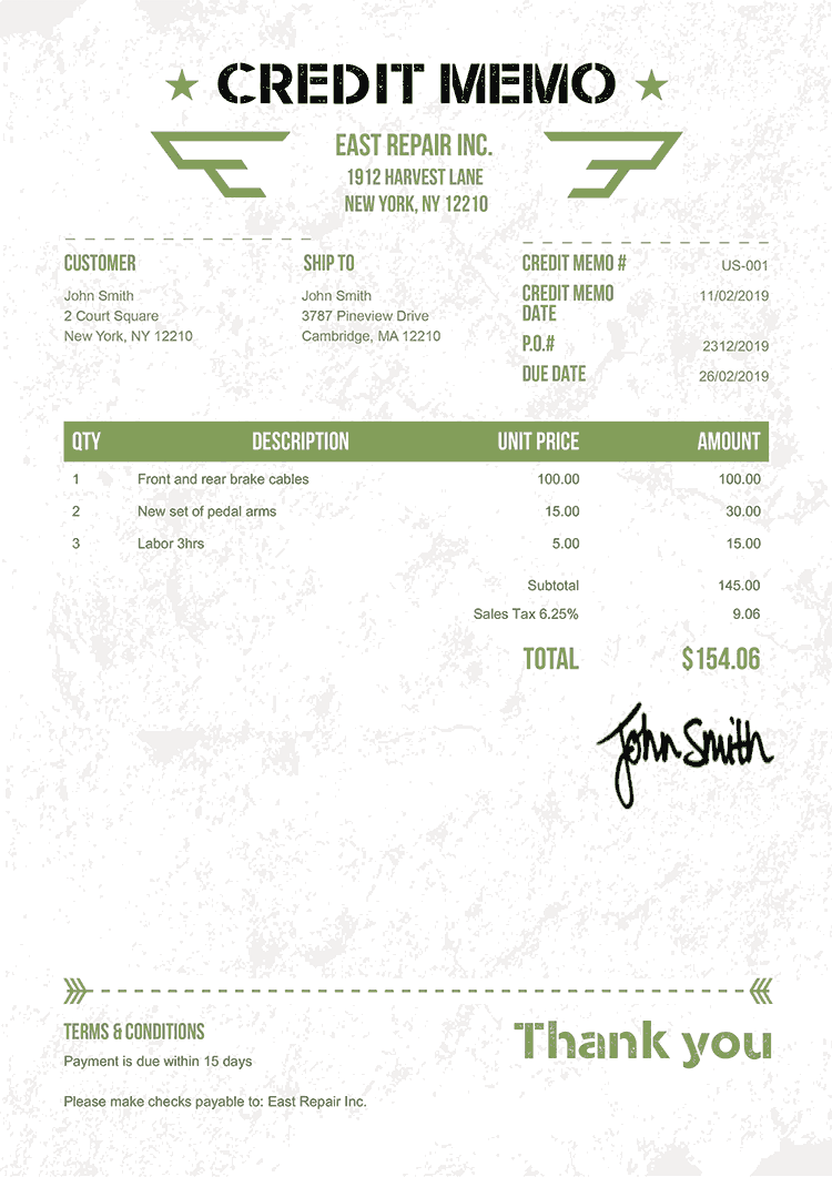 Credit Memo Template Us Military Green