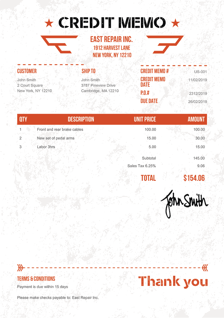 Credit Memo Template Us Military Orange