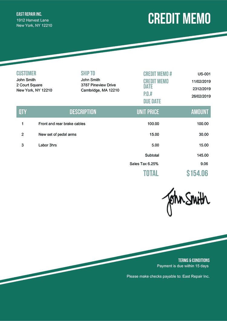 Credit Memo Template Us Modest Green