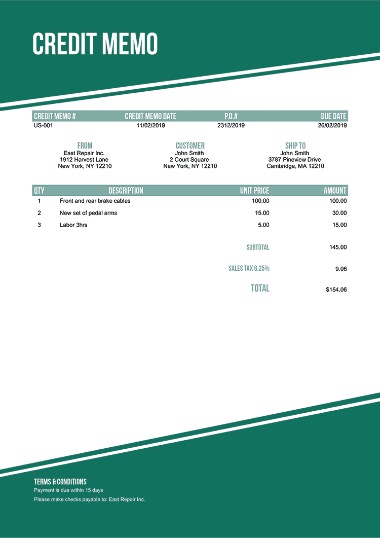 Credit Memo Template Us Modest Green No Logo