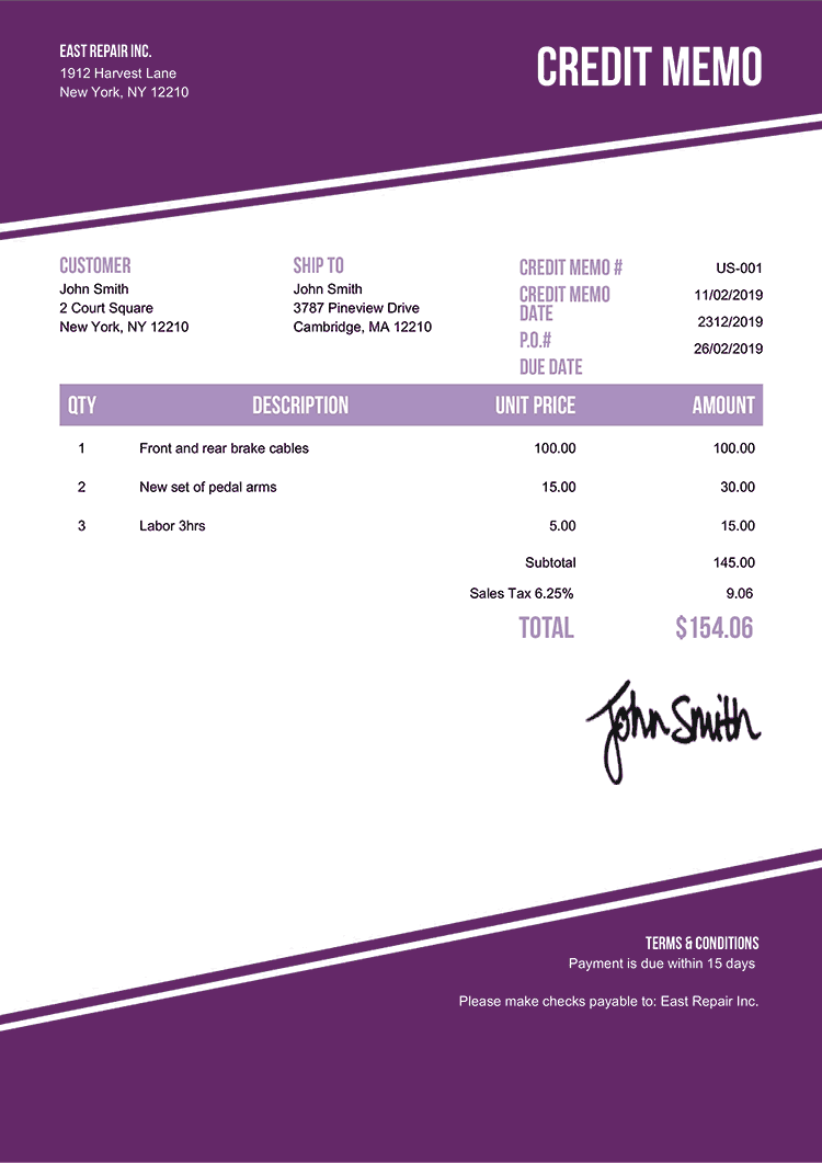 Credit Memo Template Us Modest Purple
