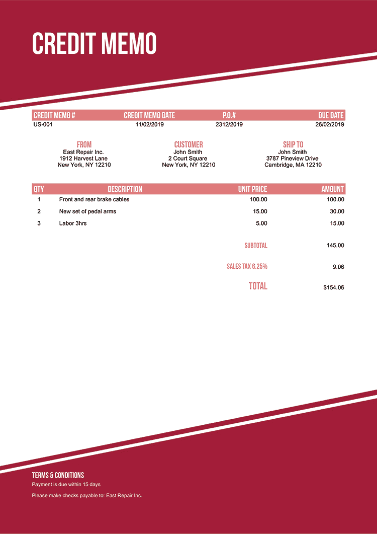 Credit Memo Template Us Modest Red No Logo