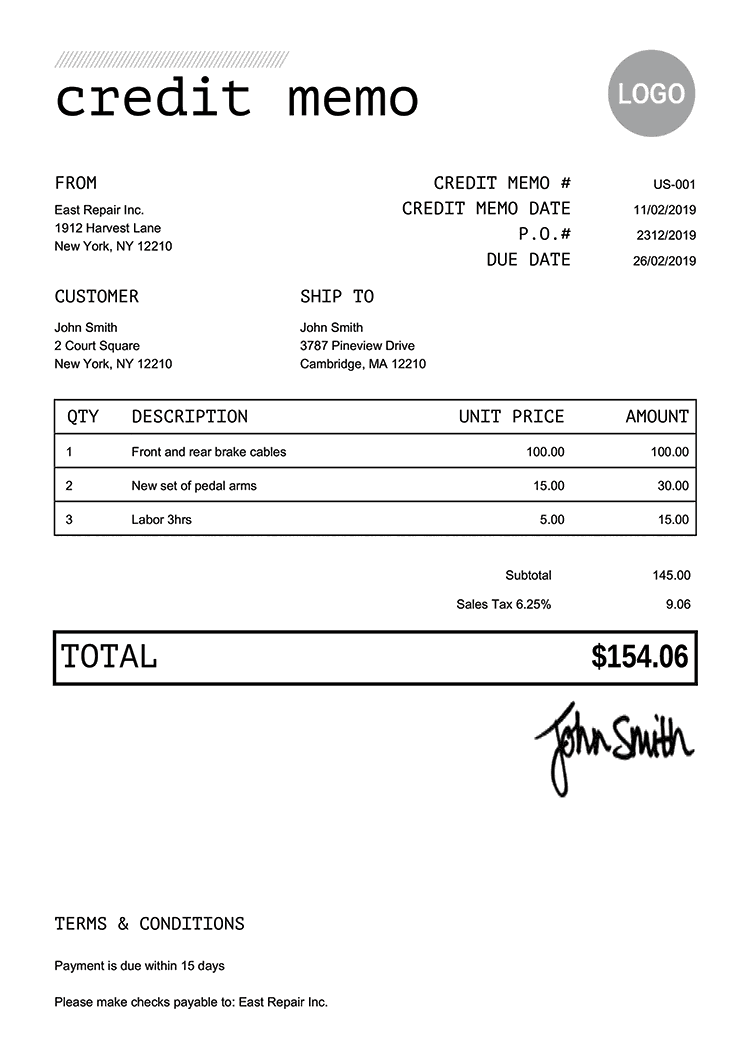 Credit Memo Template Us Mono Black