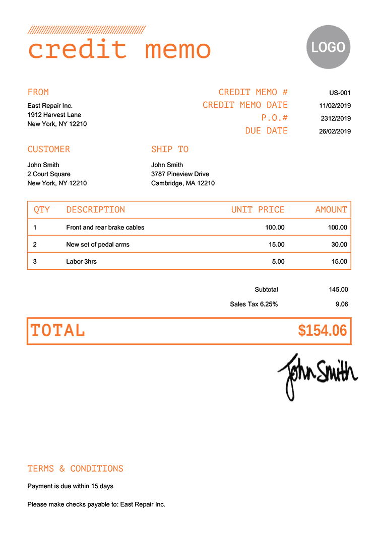 Credit Memo Template Us Mono Orange