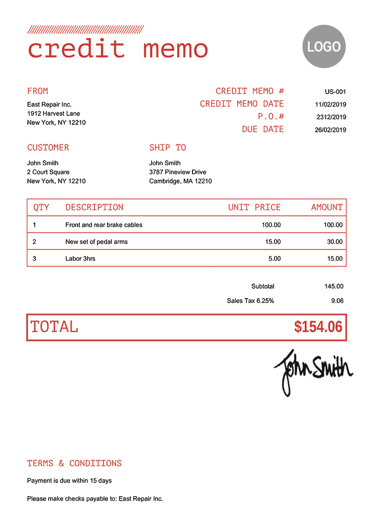 Credit Memo Template Us Mono Red