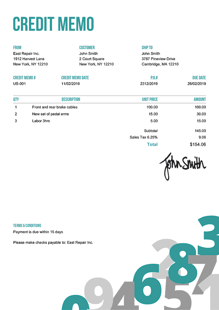 Credit Memo Template Us Numbers Teal