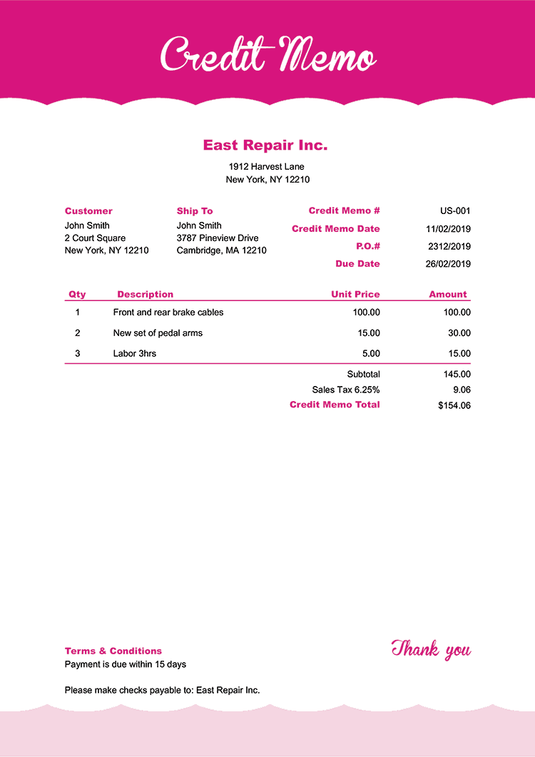 Credit Memo Template Us Pink Frosting No Logo