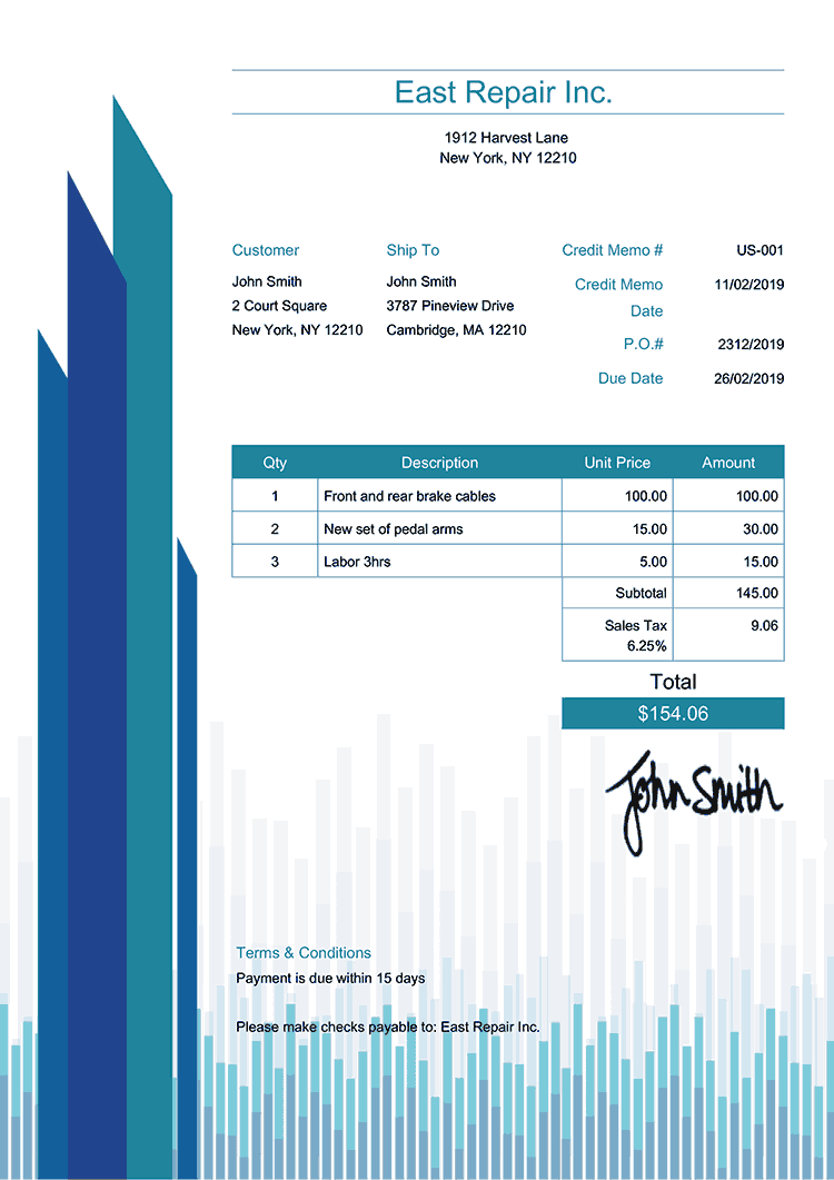 Credit Memo Template Us Success Blue