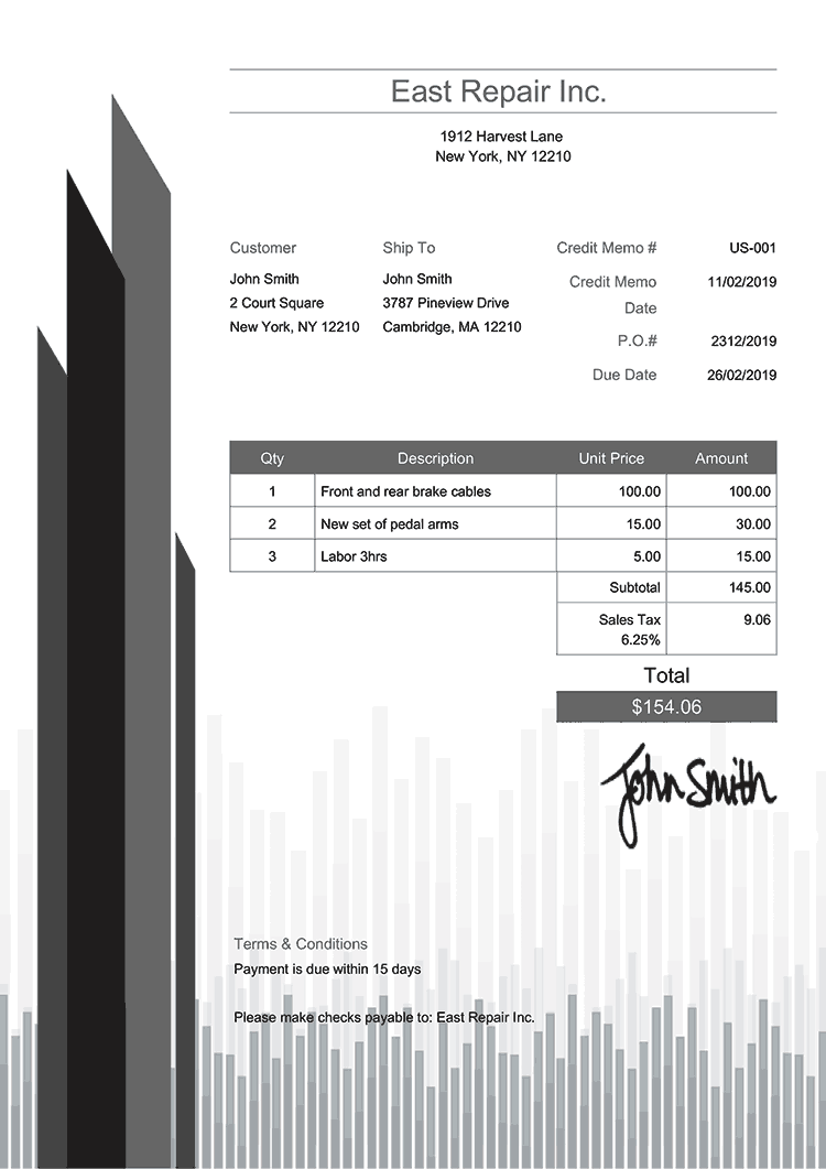 Credit Memo Template Us Success Gray