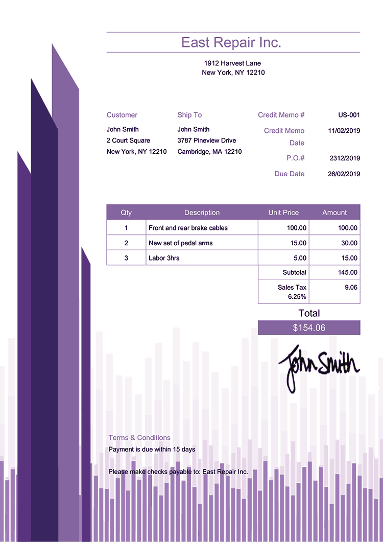 Credit Memo Template Us Success Purple