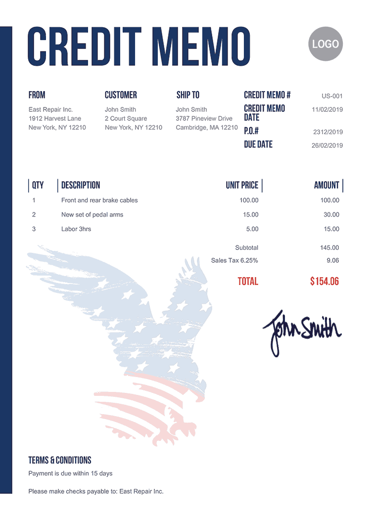 Credit Memo Template Us Us Eagle