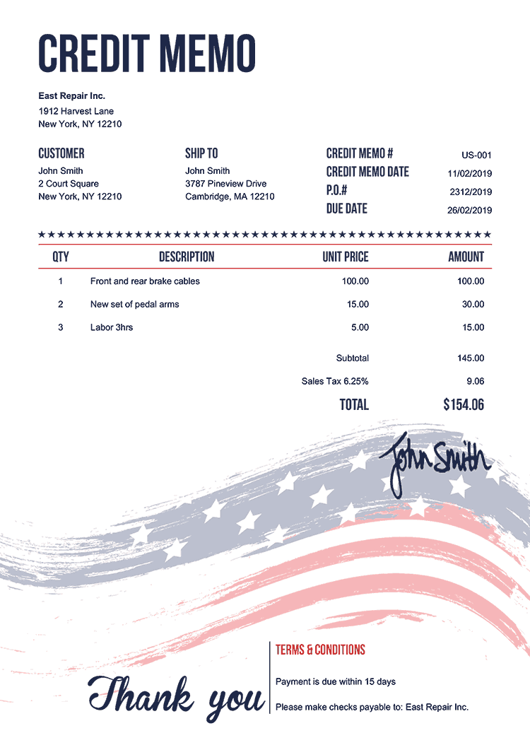 Credit Memo Template Us Us Flag