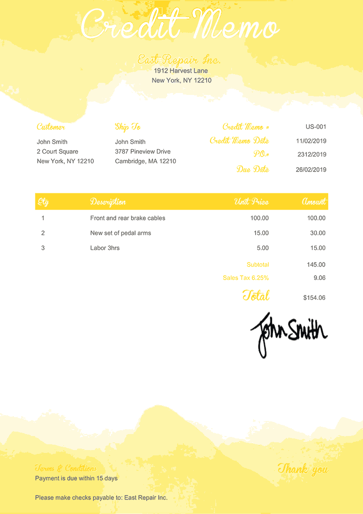 Credit Memo Template Us Watercolor Yellow