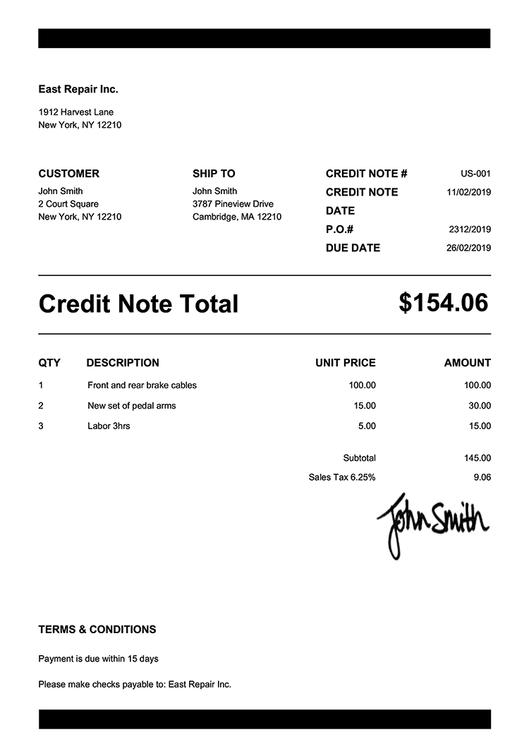 Credit Note Template Us Band Black