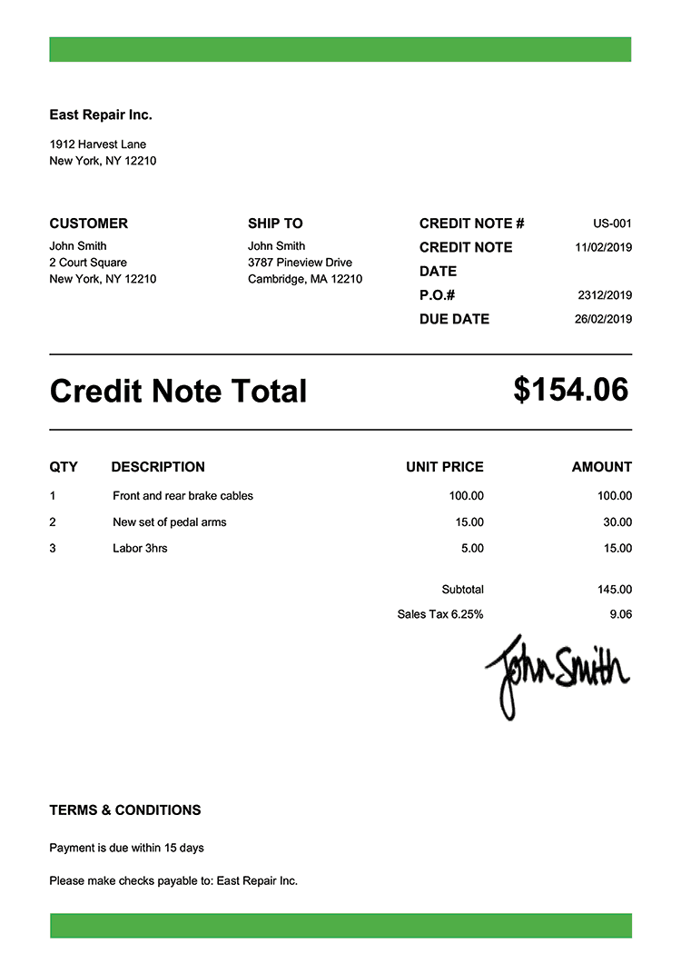 Credit Note Template Us Band Green
