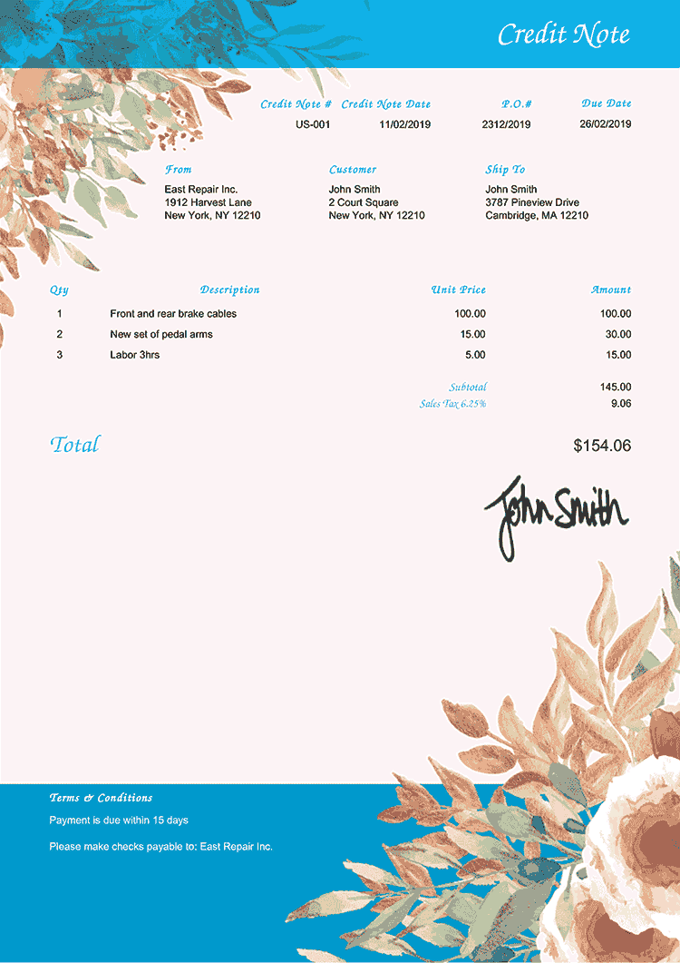 Credit Note Template Us Blooming Blue