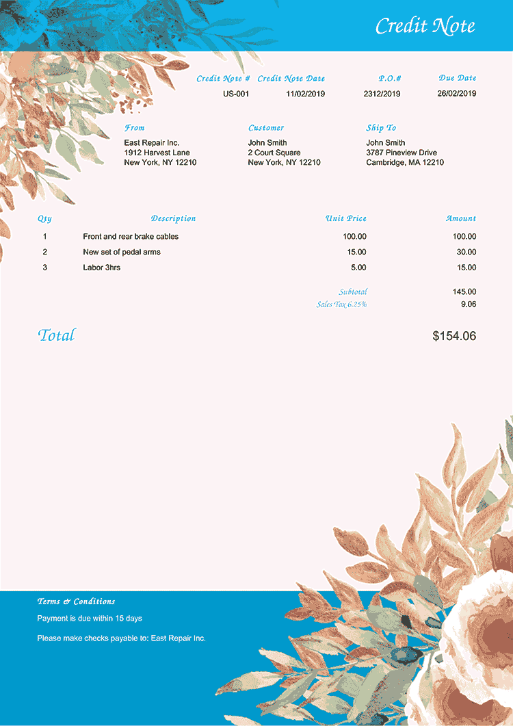 Credit Note Template Us Blooming Blue No Logo