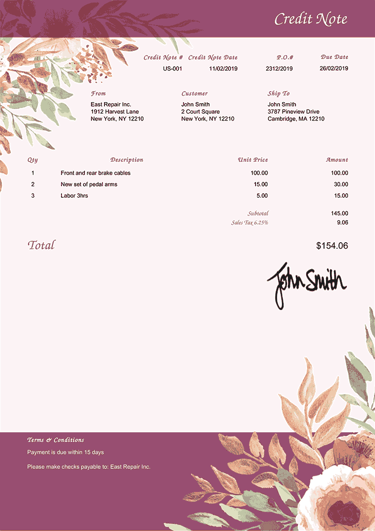 Credit Note Template Us Blooming Plum