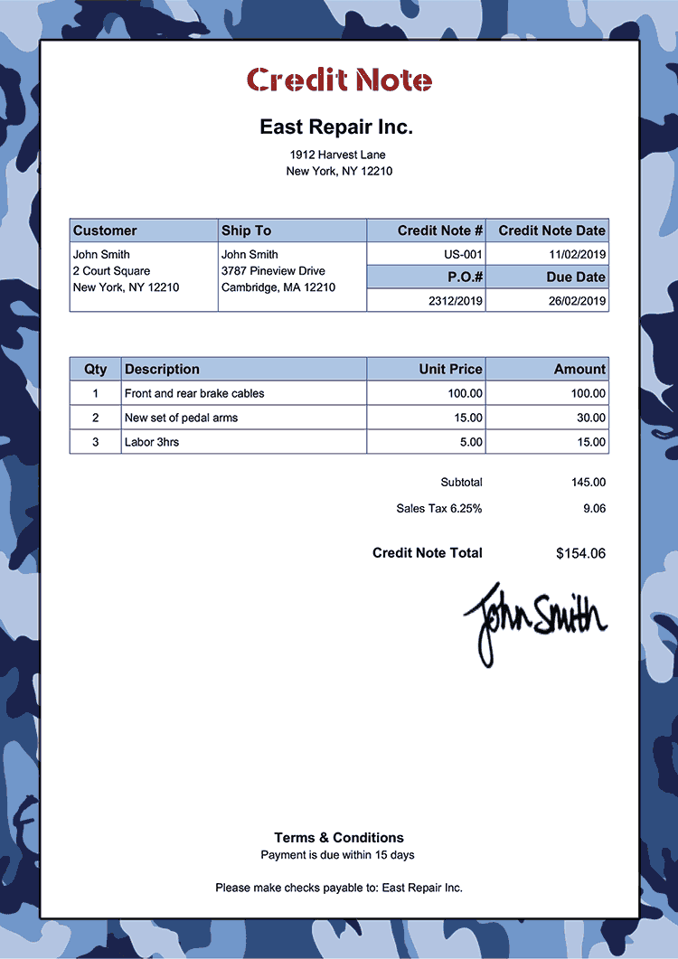 Credit Note Template Us Camo Blue