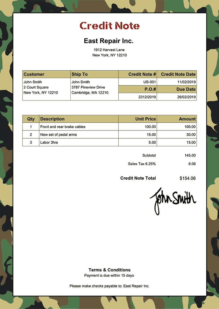 Credit Note Template Us Camo Green