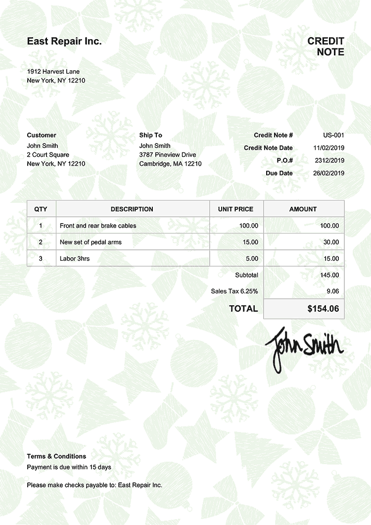 Credit Note Template Us Christmas Pattern Green