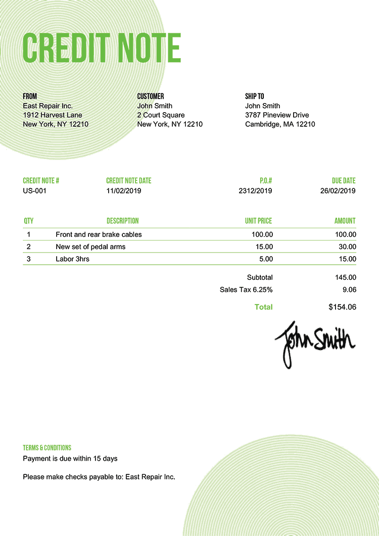Credit Note Template Us Circles Green