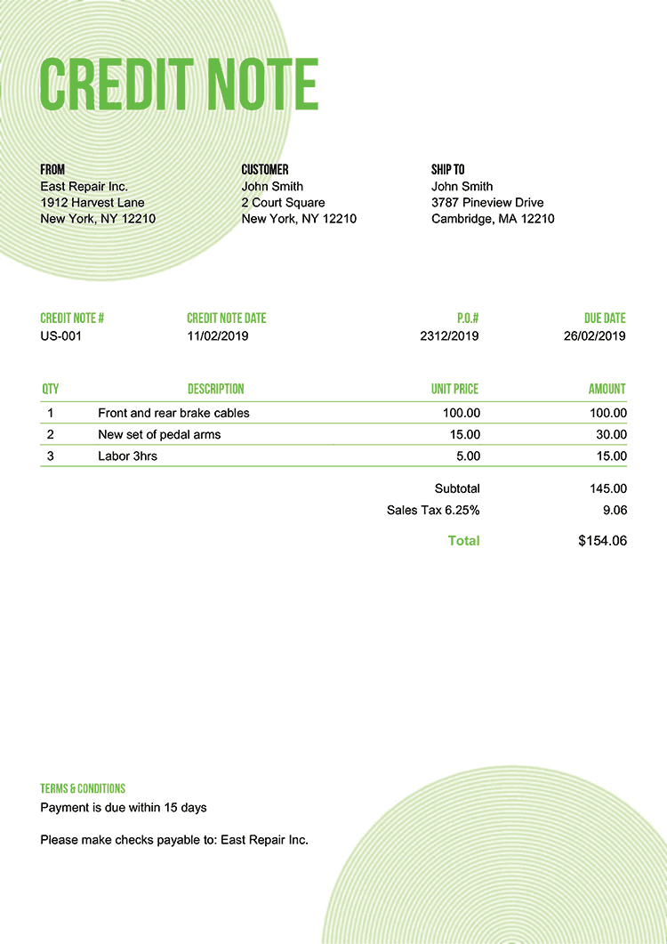 Credit Note Template Us Circles Green No Logo