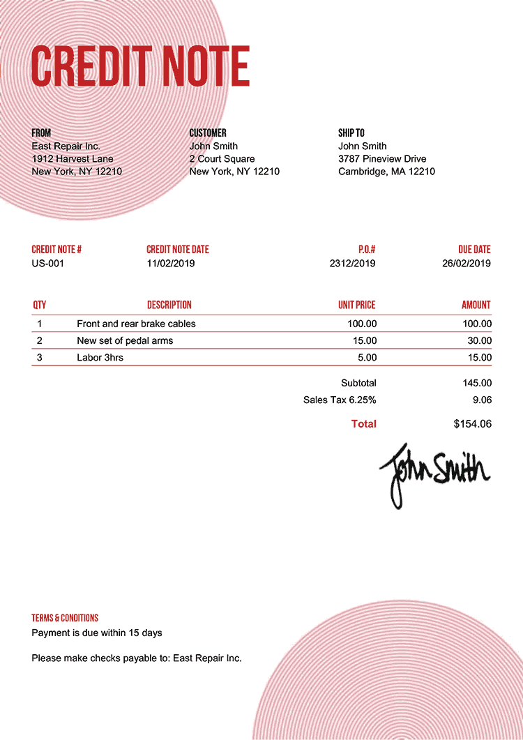 Credit Note Template Us Circles Red