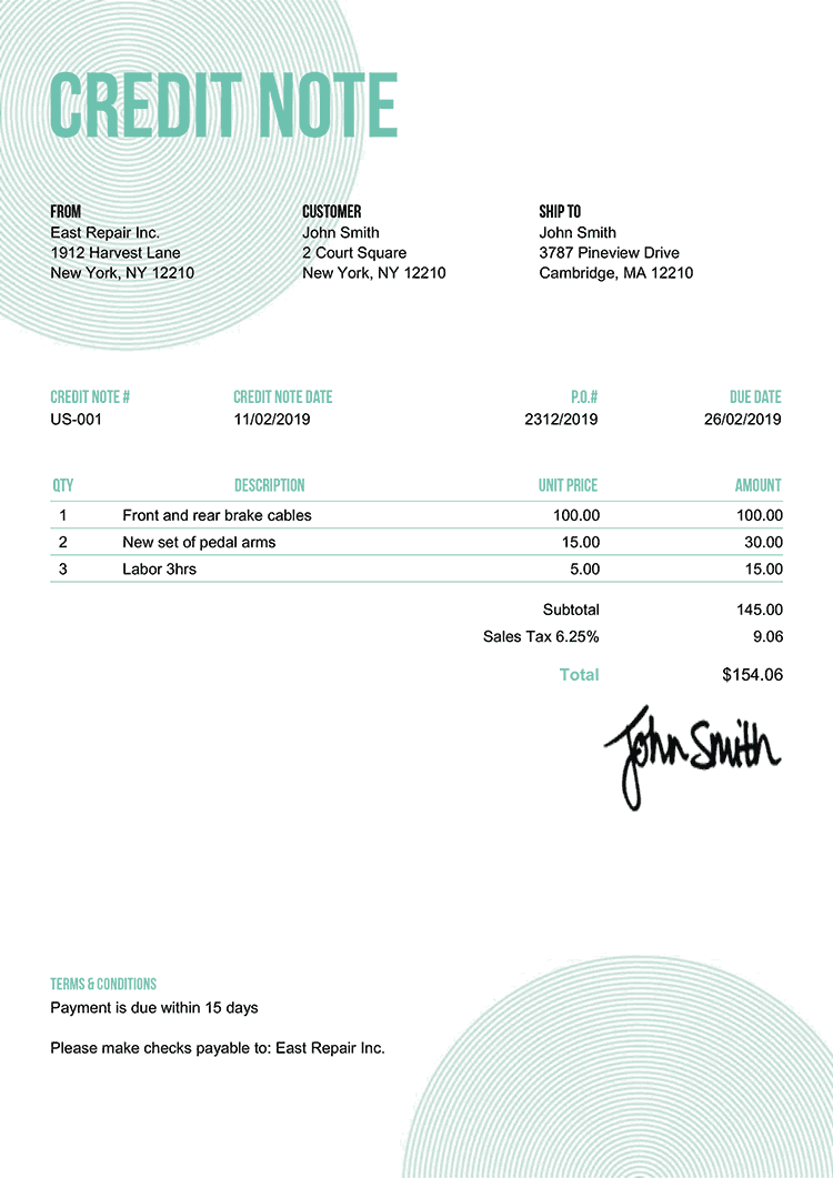 Credit Note Template Us Circles Turquoise