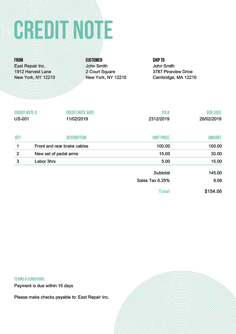 Credit Note Template Us Circles Turquoise No Logo