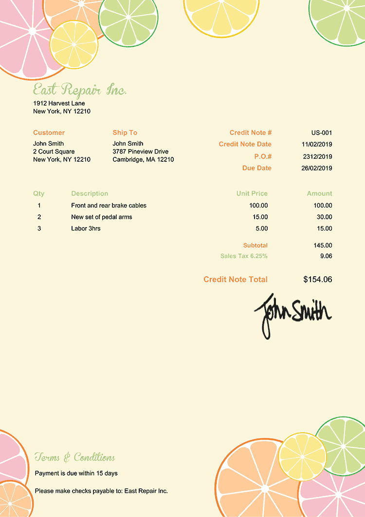 Credit Note Template Us Citrus